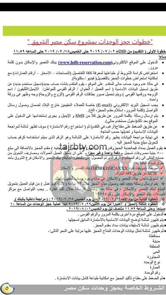 كراسة شروط شقق سكن مصر 2019